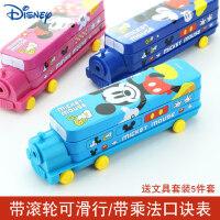 迪士尼文具盒小学生笔盒男童创意汽车造型铅笔盒二层铁盒幼儿园儿童米奇包邮铁皮马口铁文具盒