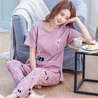 夏季纯棉睡衣女士短袖长裤韩版可爱清新学生可外穿家居服两件套装
