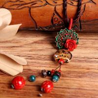 云南民族风女士配饰挂饰复古玫瑰花长款项链挂件吊坠百搭装饰品女