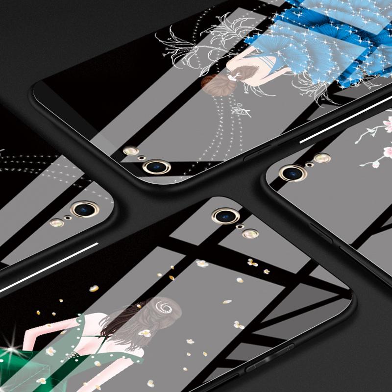 苹果6手机壳玻璃镜面iphone7女款6s防摔X个性plus创意8潮牌5s硅胶