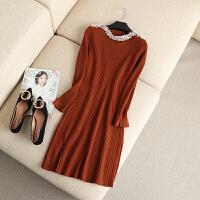 大码女装秋冬款精致韩版手工钉珠弹力长袖针织衫打底衫连衣裙