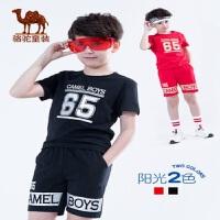 小骆驼童装2019新款夏季男童短袖套装儿童中大童运动休闲两件套潮
