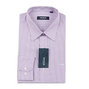 Youngor/雅戈尔男士商务正装秋季棉免烫紫条纹长袖衬衫VP1021-32