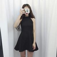 黑色挂脖连衣裙小黑裙露肩高腰蝴蝶结夏季无袖A字蓬蓬小礼服裙女 黑色
