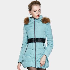 雅鹿羽绒服女中长款 加厚修身甜美貉毛领外套女冬装羽绒衣YP41120