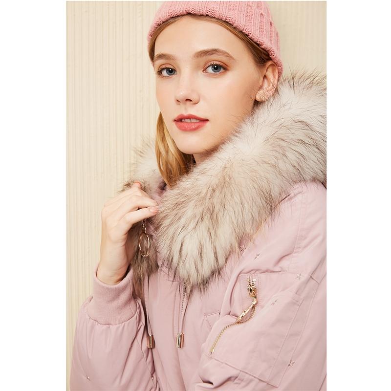 面包羽绒服女中长款拉夏贝尔冬季新款韩版毛领派过膝鹅绒羽绒