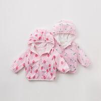 戴维贝拉春季新款女童外套宝宝连帽印花外套DB9928