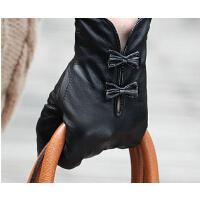 羊皮手套女士秋冬季蝴蝶结短款薄里衬真皮手套