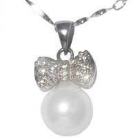 梦克拉 S925银珍珠套装 蝴蝶情缘 珍珠耳环 珍珠吊坠9-10mm