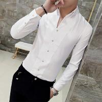 男士长袖衬衫男春季新款修身V领发型师衬衣韩版休闲夜店型男寸衫