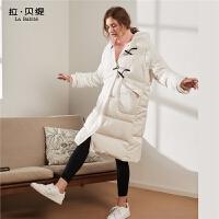 羽绒服女装中长款拉夏贝尔2020新款秋冬季韩版白色鹅绒过膝外套