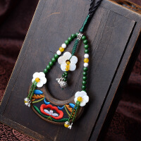 长款毛衣链饰品女民族风项链刺绣玛瑙贝壳花苗银花朵
