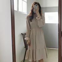 夏季新款女装韩版chic风收腰气质系带花苞领长袖雪纺连衣裙中长裙