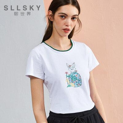 熙世界夏装新款圆领棉质印花短袖T恤女112ST088