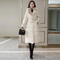 羽绒服女中长款2018冬季韩版修身时尚加厚白鸭绒长款过膝超长