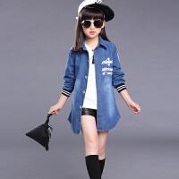 8女童牛仔风衣7中长款外套春季秋装新款9-12女孩儿童10上衣15岁潮 蓝色