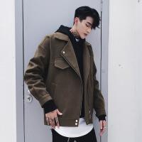 秋冬季男士毛呢大衣短款潮流韩版宽松翻领英伦bf风衣帅气妮子外套