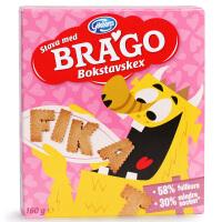 瑞典 进口BRAGO布拉狗全麦趣味字母原味饼干宝宝健康零食儿童饼干
