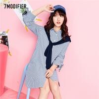 7m2018春装新款韩版宽松条纹海军风连衣裙不对称开叉中长衬衫女70009850
