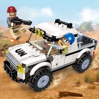 启蒙3201 维和部队系列险遇截击(128颗粒) 拼装积木 男孩玩具