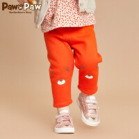 【3件2折 到手价:60】[加绒]Pawinpaw卡通小熊童装冬女宝宝休闲裤保暖长裤婴幼儿打底裤