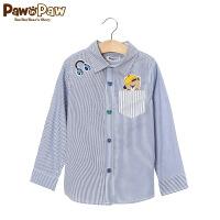 【3件2折 到手价:80】Pawinpaw宝英宝韩国小熊童装春季款男童帅气条纹衬衫
