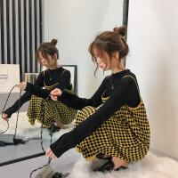 2018新款超火毛衣配裙子两件套女秋针织连衣裙毛线裙冬季复古套装 均码