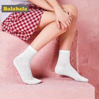 巴拉巴拉童装女童儿童袜子夏装2018新款纯色透气学生棉袜三双装女