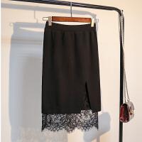 大码女装两面穿蕾丝拼接包臀半身裙开叉中长胖mm200斤针织一步裙