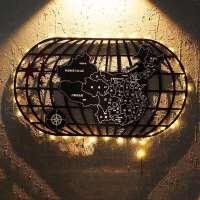 装饰世界地图铁艺壁饰创意酒吧咖啡厅墙面壁挂墙上装饰品