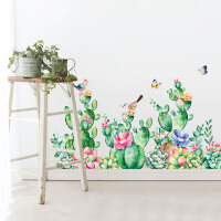 仙人掌花鸟贴纸客厅卧室房间店铺装饰墙墙贴