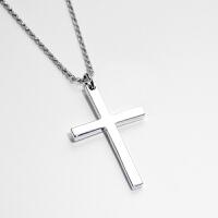 925银男士基督教耶稣十字架项链个性男士十字架吊坠