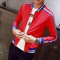 新款男生夹克韩版修身红色外套社会精神小伙紧身潮流个性上衣