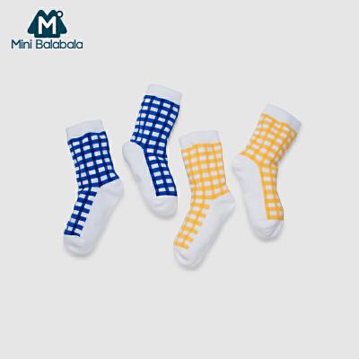 迷你巴拉巴拉男女童袜婴儿袜子短款格子袜两双装透气吸汗春季新款短袜