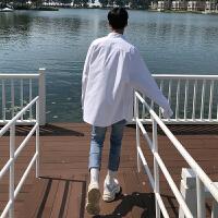 BANGBOY 2018春季工装白衬衫男长袖韩范宽松简约休闲外套男士衬衣