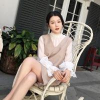 ◆◆2018秋季新品气质无袖连衣裙宽松V领背心裙子灯笼袖上衣女