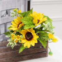 仿真花束向日葵太阳花装饰假花摆件室内家居餐厅桌面花瓶插花花艺
