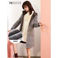 拉夏贝尔毛呢大衣女中长款秋冬季新款韩版赫本风羊毛外套格子双面呢女