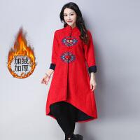 中国风女装新款棉麻盘扣刺绣中长款民族风大码风衣加绒外套女