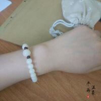 天然白玉菩提根手串佛珠子手链女款简约菩提子手串设计民族风饰品