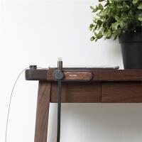 磁吸理线集线器木质数据充电线收纳桌面车载固定线夹