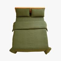 当当优品家纺 全棉日式针织床品 1.8米床 床笠四件套 纯色草绿