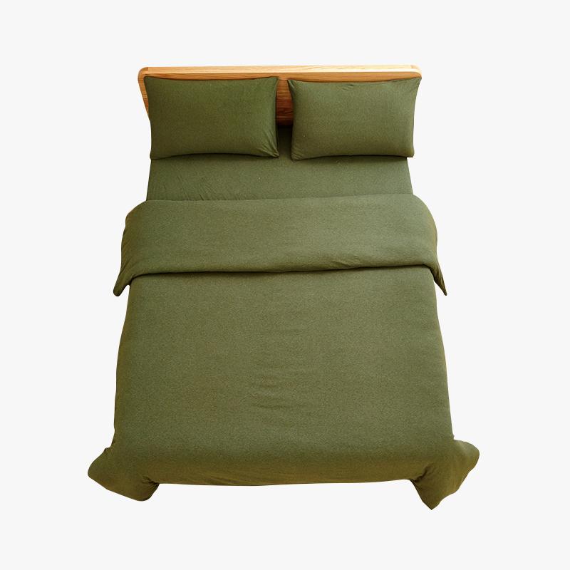 【任选3件4折,2件5折】当当优品家纺 全棉日式针织床品 1.8米床 床笠四件套 纯色草绿当当自营 MUJI制造商代工