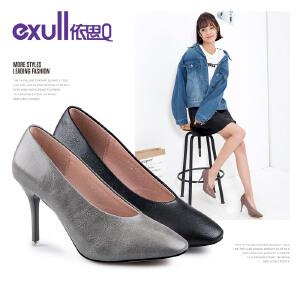 依思q新款潮流方头奶奶鞋细跟高跟套脚单鞋女鞋