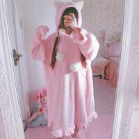 秋冬女装日系可爱毛绒猫耳朵长袖连衣裙睡衣居家服睡裙中长款长裙
