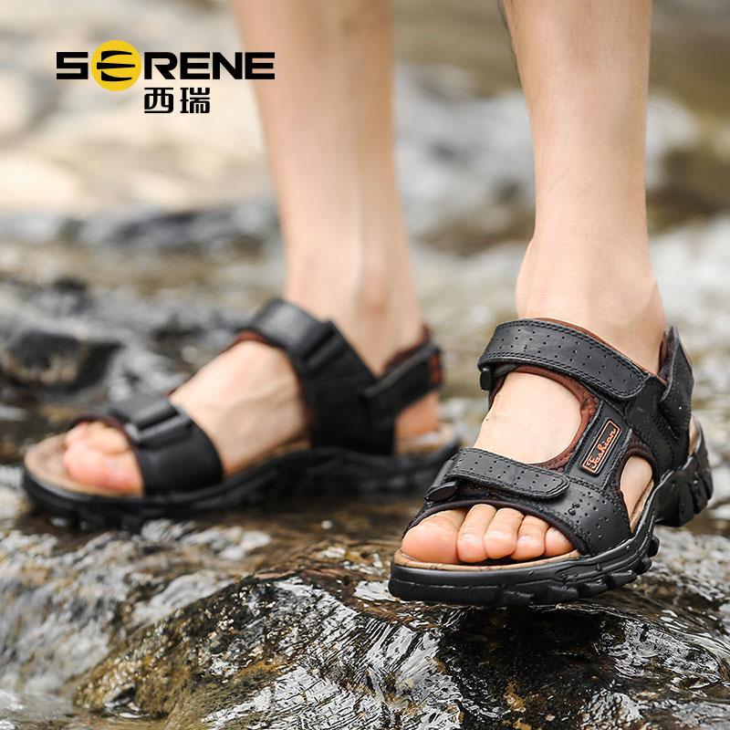 西瑞户外魔术贴凉鞋男款韩版潮流个性越南沙滩鞋青年厚底休闲防滑2190