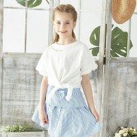 派克兰帝童装儿童T恤纯棉圆领中大童女童针织套头衫