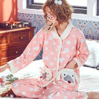 孕妇睡衣冬季加厚加绒怀孕期秋装棉宽松大码产后哺乳喂奶月子服