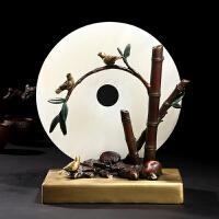 白玉平安扣摆件 铜彩铜乔迁新居客厅中式装饰工艺品