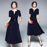 新款修身连衣裙夏季女装欧美短袖V领气质中长款收腰A字裙